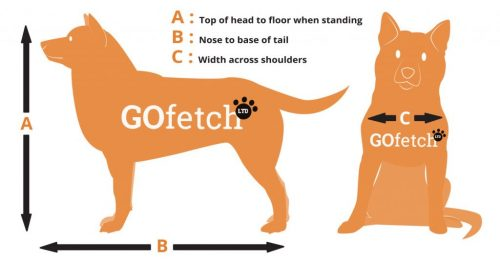 I created a new sizing chart for GoFetch, using Adobe Illustrator. I created a vector image that is clear and easy to understand. I kept it in line with the colour scheme for the website brand.